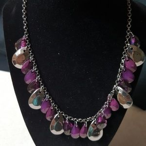 Silver Chain Necklace with Silver & Purple Beads